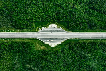 Aerial view of Toll Road Highway with parking in green pine Forest.