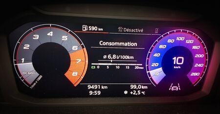 Digital dashboard of a modern car. Stock Photo
