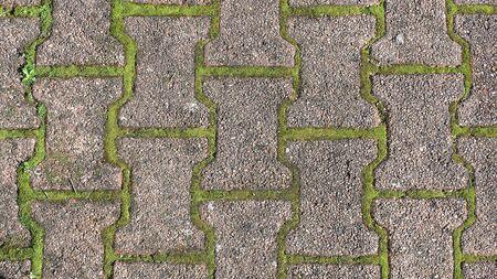 Textur des Bürgersteigs mit Moos, Gras oder Unkraut. Hintergrund mit freiem Platz für Text.