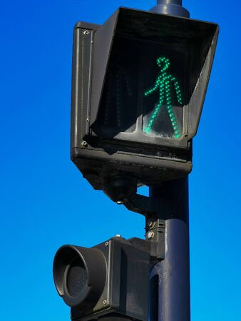 Pedestrian traffic or crossing light with speaker to provide voice tips for visually impaired.