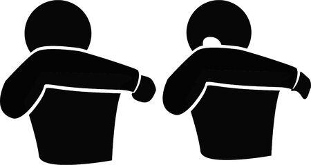 Éternuez ou toussez dans votre coude, pas dans vos mains à éviter, évitez de propager des germes et des virus, des icônes, une illustration vectorielle. Vecteurs