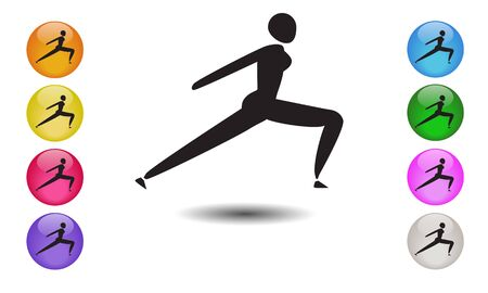 Yoga posture female icon or running woman logo, sprinter silhouette. Vector illustration Vectores