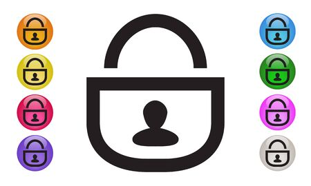 LOCK Security Shield Protection icon with man icon, password and cyber security concepts. Vector Illustration EPS 10
