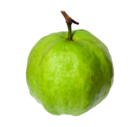 Guava isolated on white, fruit with green color from tropical zone photo