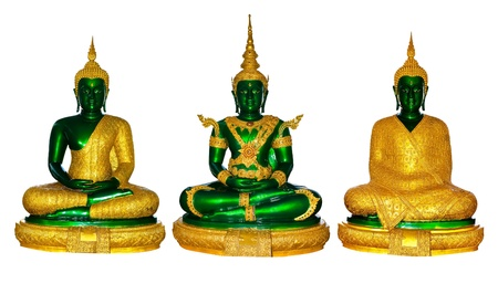 Three emerald Buddha image in clothes for three seasons photo