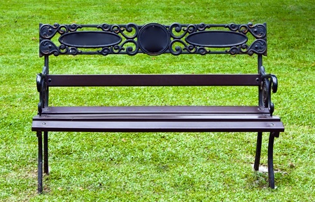 Bench outdoor with green grass Stock Photo