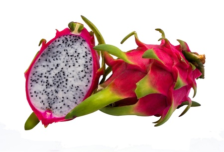 Dragon Fruit and seeds isolated on white background