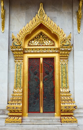 Temple door decorations from Thailand  photo
