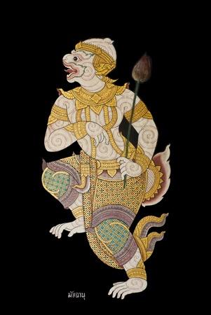 hanuman: Mudchanu son of mokey  Hanuman isolated on wall in temple in Thailand