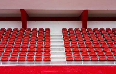 Grandstand with Red seats in a stadium