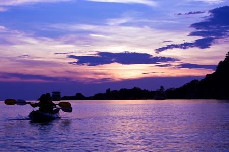 chang: Kayak at sunset, Koh Chang island, Thailand  Stock Photo