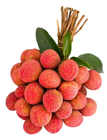 litschi: Bunch of Litchi with green leaf