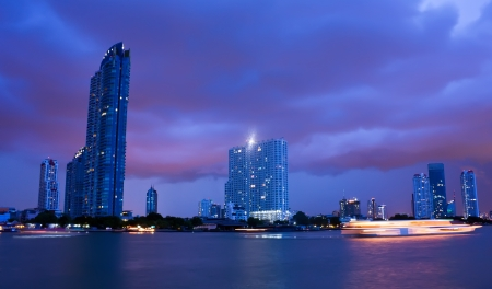 Chao Phraya river in Bangkok in cloudy night photo