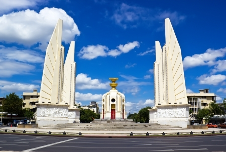 monument: Democracy monument in day time with blue sky Bangkok Thailand  Editorial