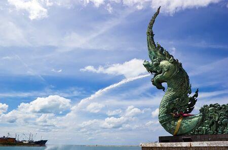 Naga at Songkhla lake with blue sky