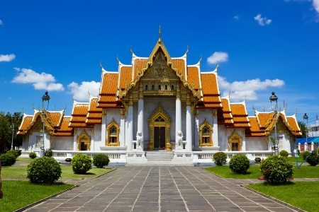 Marble Temple in Bangkok Thailand Stock Photo