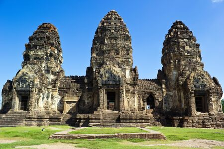 Phra Prang Sam Yot, ancient architecture in Lopburi, Thailand photo