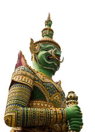 Giant guardian isolated on white background  of Wat Arun in Bangkok Thailand  Stock Photo