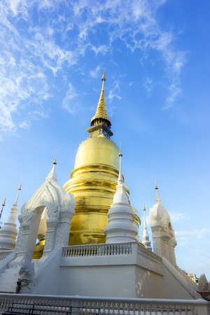 Gold pagoda at Wat Suan Dok in Chiang Mai, North of Thailand photo