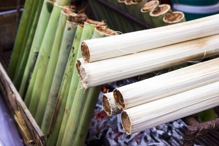 Khao larm, Thai Dessert, Sweet sticky rice in bamboo stick
