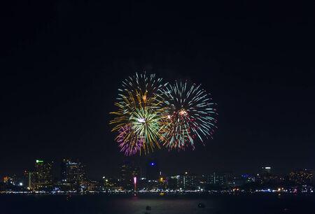 Firework in Pattaya during festival Stock Photo