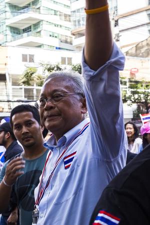 shutdown: Bangkok, Thailand - January 30 PDRC leader Suthep Thaugsuban continue the shutdown Bangkok campaign and asks for reforms before election at Asoke Sukhumvit road on January 30,2014  in Bangkok, Thailand   Editorial