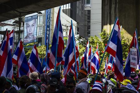 Bangkok, Thailand - January 30  protesters shut down Bangkok to reform before election at Asoke on Sukhumvit road on January 30, 2014 in Bangkok, Thailand Editorial