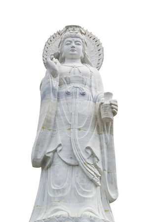White statue of Guanyin isolated on white