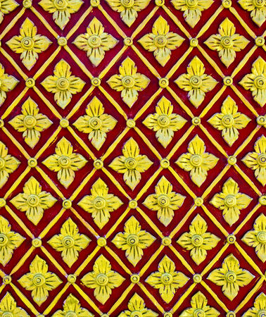 Thai art style flower red and yellow