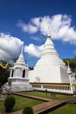 White pagoda in Wat Phra Singh Woramahaviharn, Chiangmai
