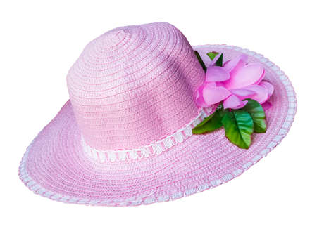 Light Pink fashion hat isolated on white background  Stock Photo