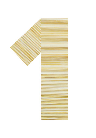 toothpick: Number 1 made from toothpick isolated
