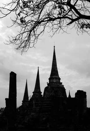 Black and white of Wat Phra Sri Sanphet temple in Ayutthaya photo