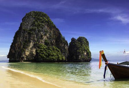 phra nang: Happy Island on Phra Nang beach in sunny day Stock Photo