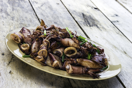 Grilled fried Squid with sweet sugar