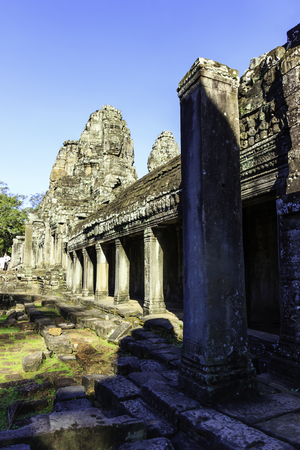 Cambodia Ruin Ancient Bayon Temple in Siem Reap Фото со стока - 111559948