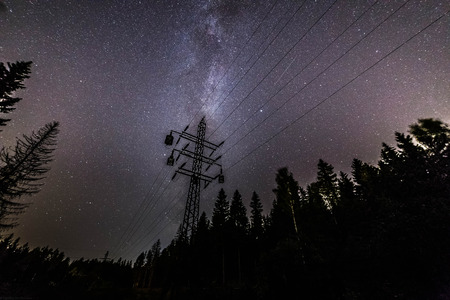 The Milky Way along the High-Voltage Line, Moscow Region