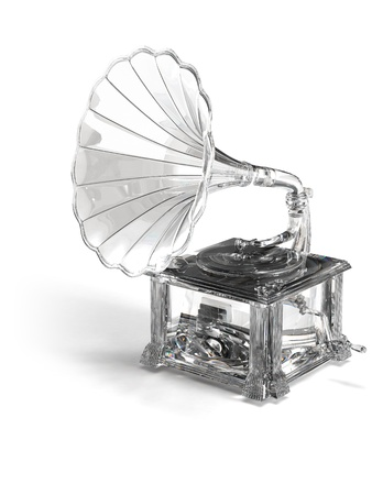 Crysral, brilliant, glass gramophone on white