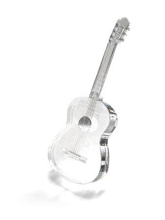 Crysral, brilliant, glass guitar on white Stock Photo