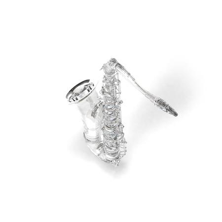 tout: Crysral, brilliant, glass saxophone on white