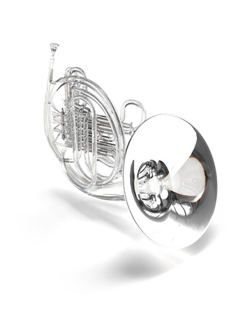 Crysral, brilliant, glass horn on white Stock Photo