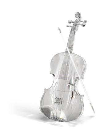 Crysral, brilliant, glass violin on white Stock Photo
