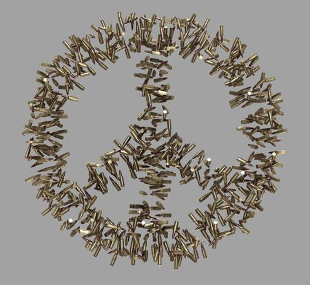 Peace symbol made of bullets on grey photo