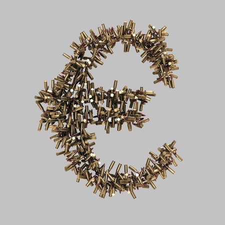 Euro sign made of bullets on grey Stock Photo