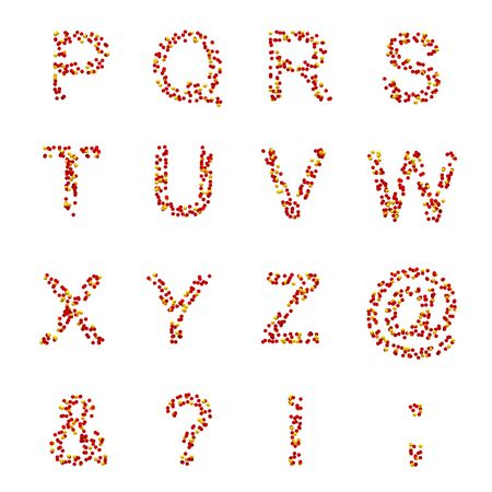 P-Z letters and symbols made of candies or pills on white photo