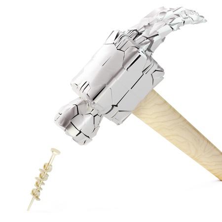 failed plan: Hammering pride-nail on white