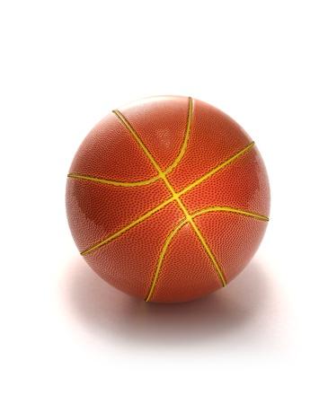 balon baloncesto: Dentro de pelota de baloncesto brillante sobre fondo blanco