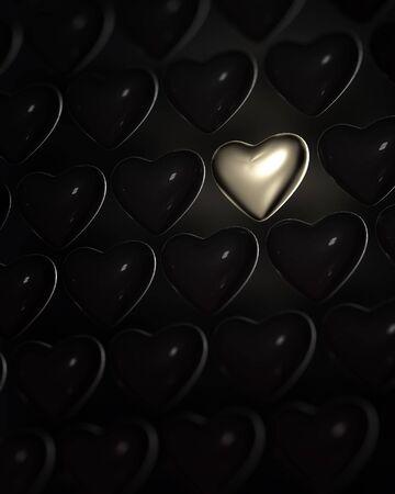 loveless: Shiny golden heart surrounded by dark glossy hearts on black