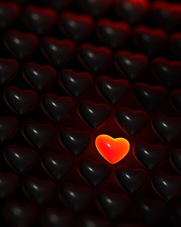loveless: Glowing red-glass heart surrounded by dark glossy hearts
