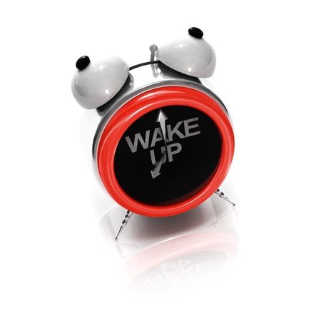 up wake: Alarm clock as stylized shouting face on white Stock Photo